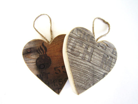 1 Old Wood Ammo Box Heart Ornament