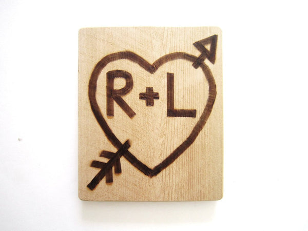 Wooden Signs Personalized , rustic wedding sign decor , initial sign , heart and arrow , 5th anniversary gift for him , wood anniversary