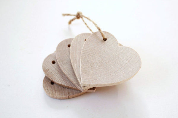 Tags for Wedding Favors . 5 Wooden Tags . wooden hearts . wood heart tags . wedding tags . wedding favor tags . tags for mason jars