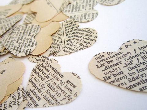 Vintage Wedding Confetti Paper Heart Confetti cut from old dictionaries