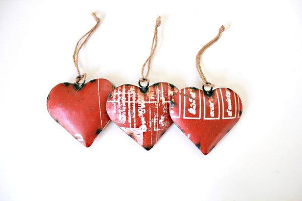 Reclaimed Metal Red Heart Ornament