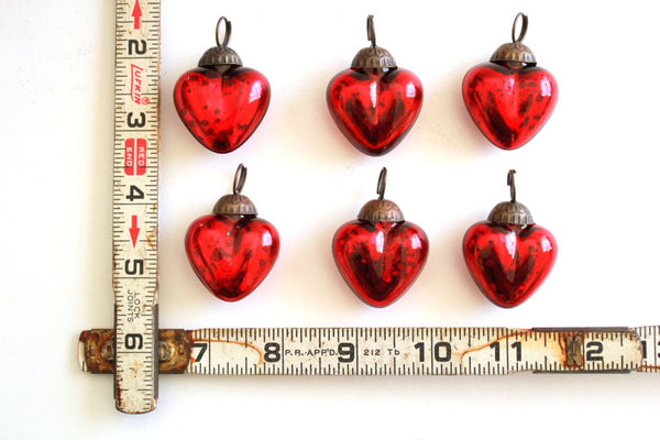 Red or Silver Heart Mercury Glass Ornaments