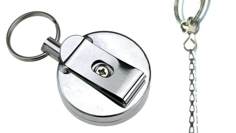 Stainless Silver Retractable Key Chain Recoil Keyring Heavy Duty Steel 450mm - Pack of 1