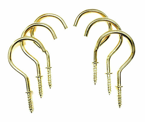 1 1/4 Inch Brass Shouldered Cup Screw in Hook 32mm - Pack of 10