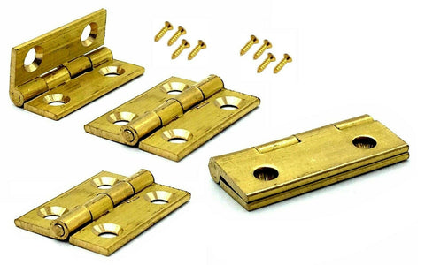 4x Butt Hinges 25mm solid brass dolls house trinket box door hinge & screws