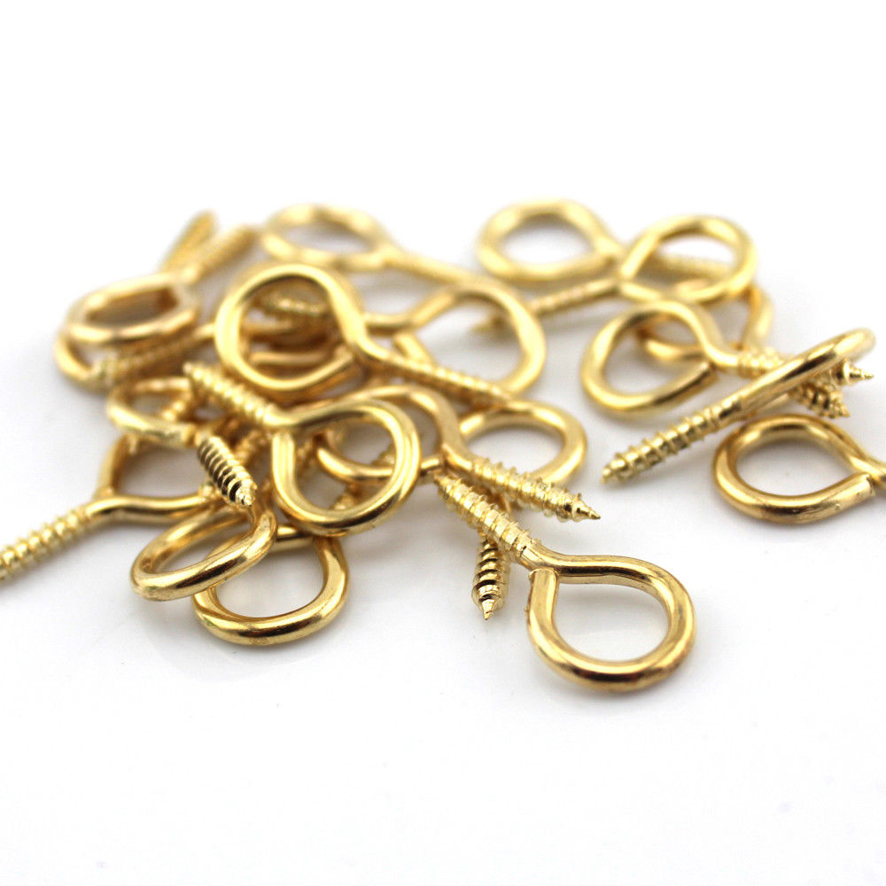 100 x 12mm TINY SMALL BRASS STEEL PICTURE WIRE FRAME SCREW EYE HOOK Mini Hanging Ring