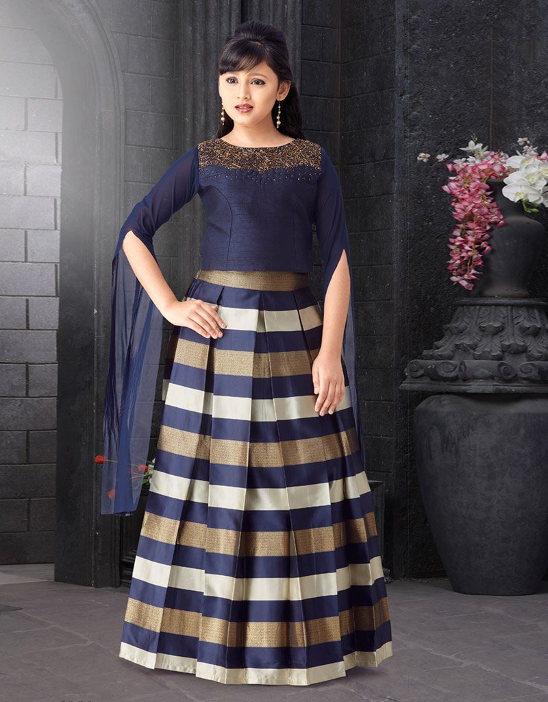 Navy Blue Choli with Striped Lehenga