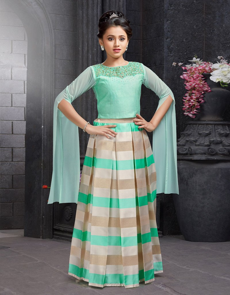 Pista Green Choli with Striped Lehenga