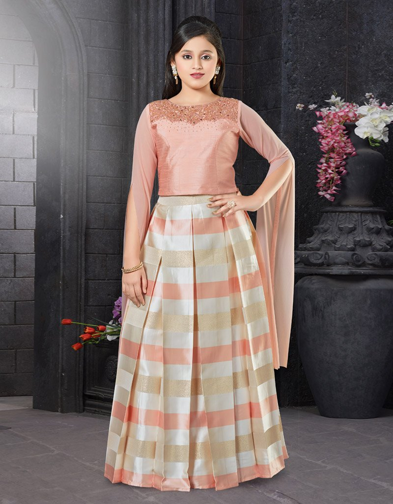 Pink Choli with Striped Lehenga