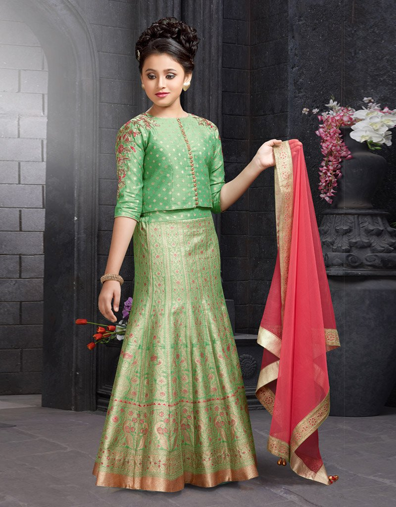 Green Silk Lehenga with Cropped Top