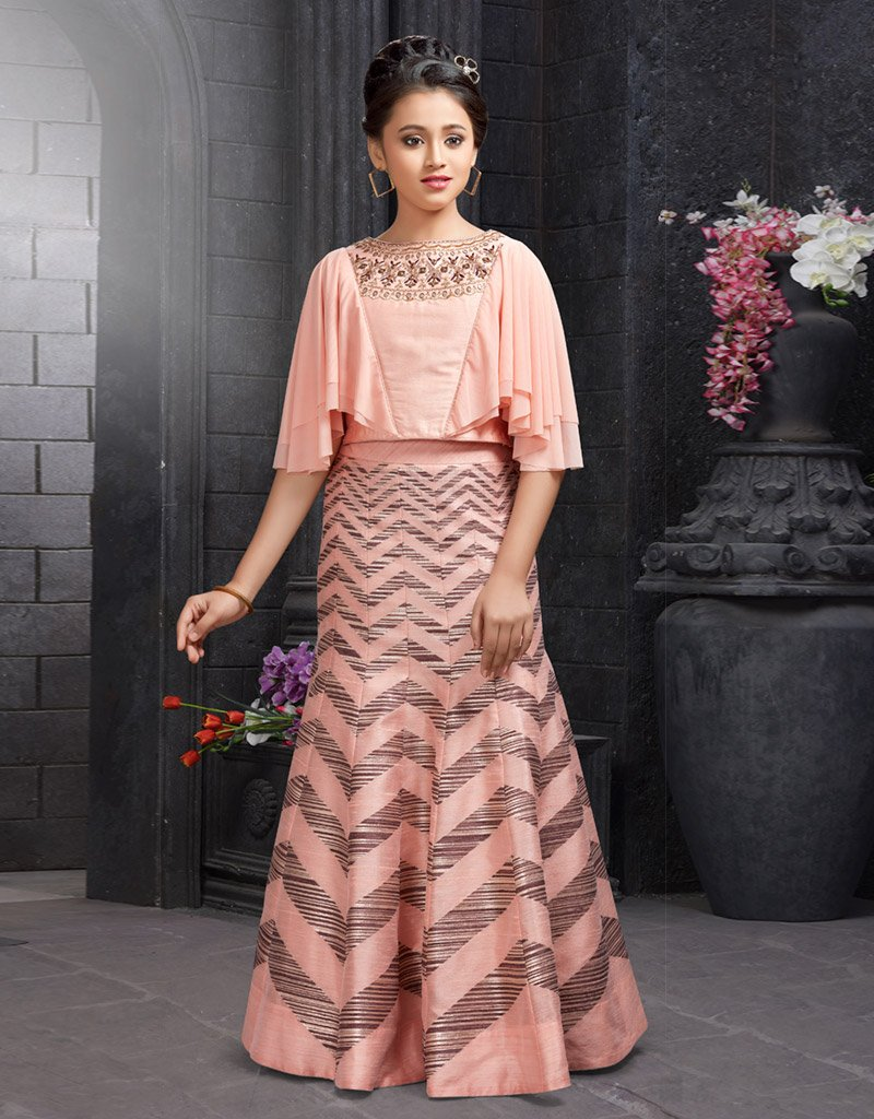 Pink Silk Lehenga with Ruffled Sleeves Top