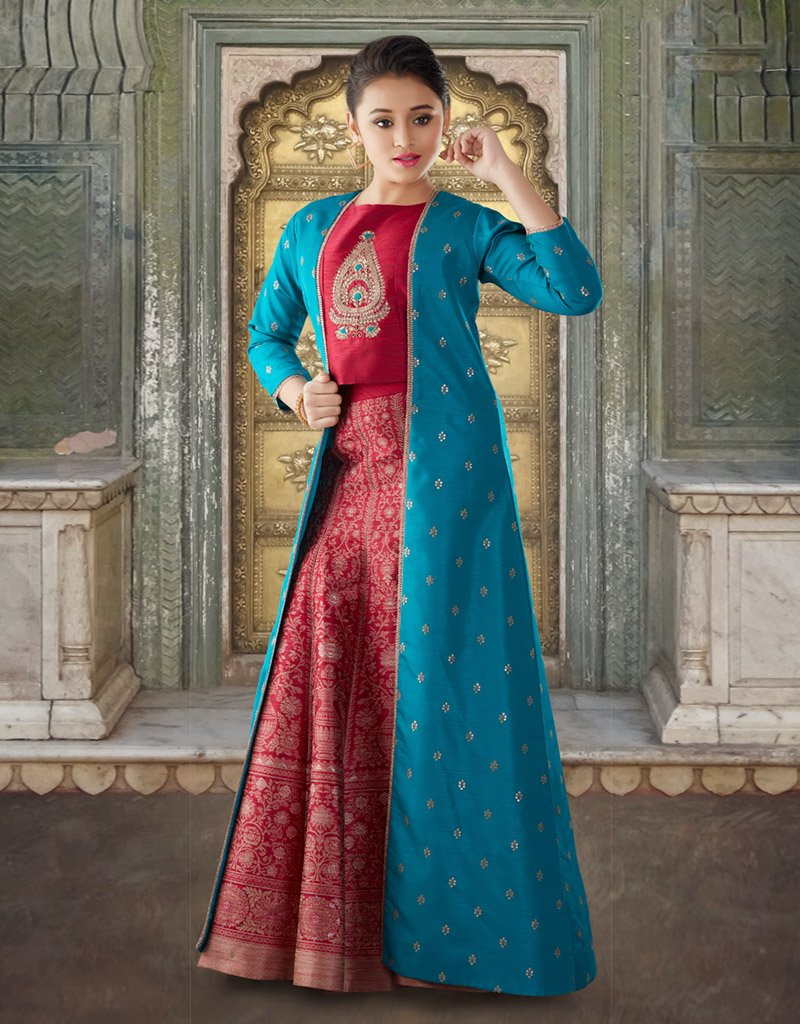 Red Silk Lehenga Choli with Blue Jacket