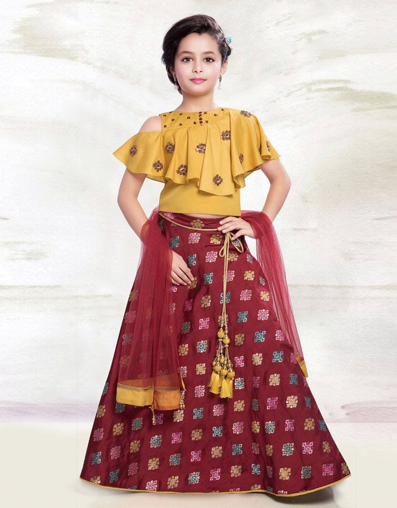 Maroon Silk Lehenga with Yellow Cold Shoulder Choli