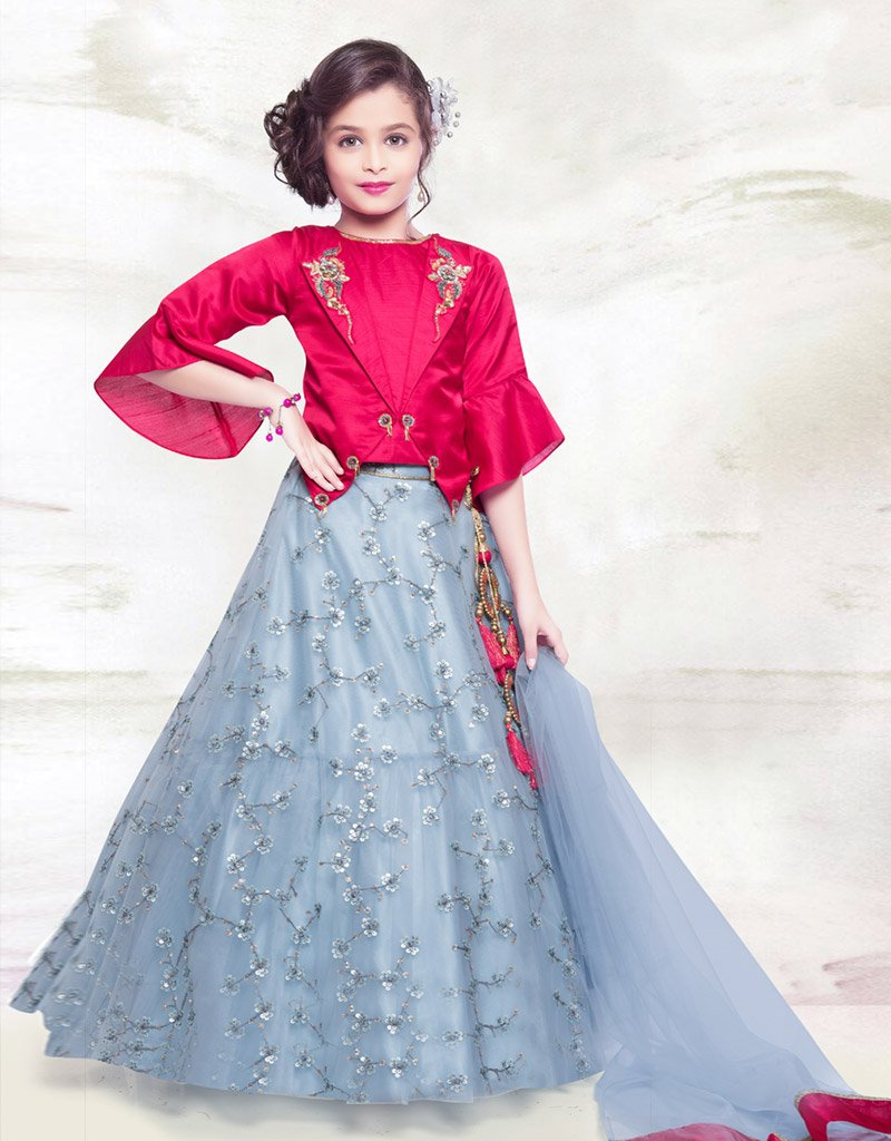 Grey Lehenga with Red Choli