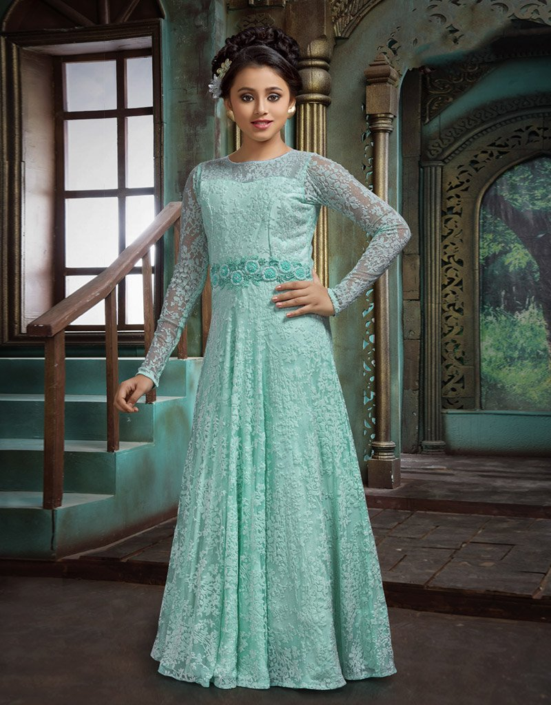 Sea Green Chikankari Floor Length Gown