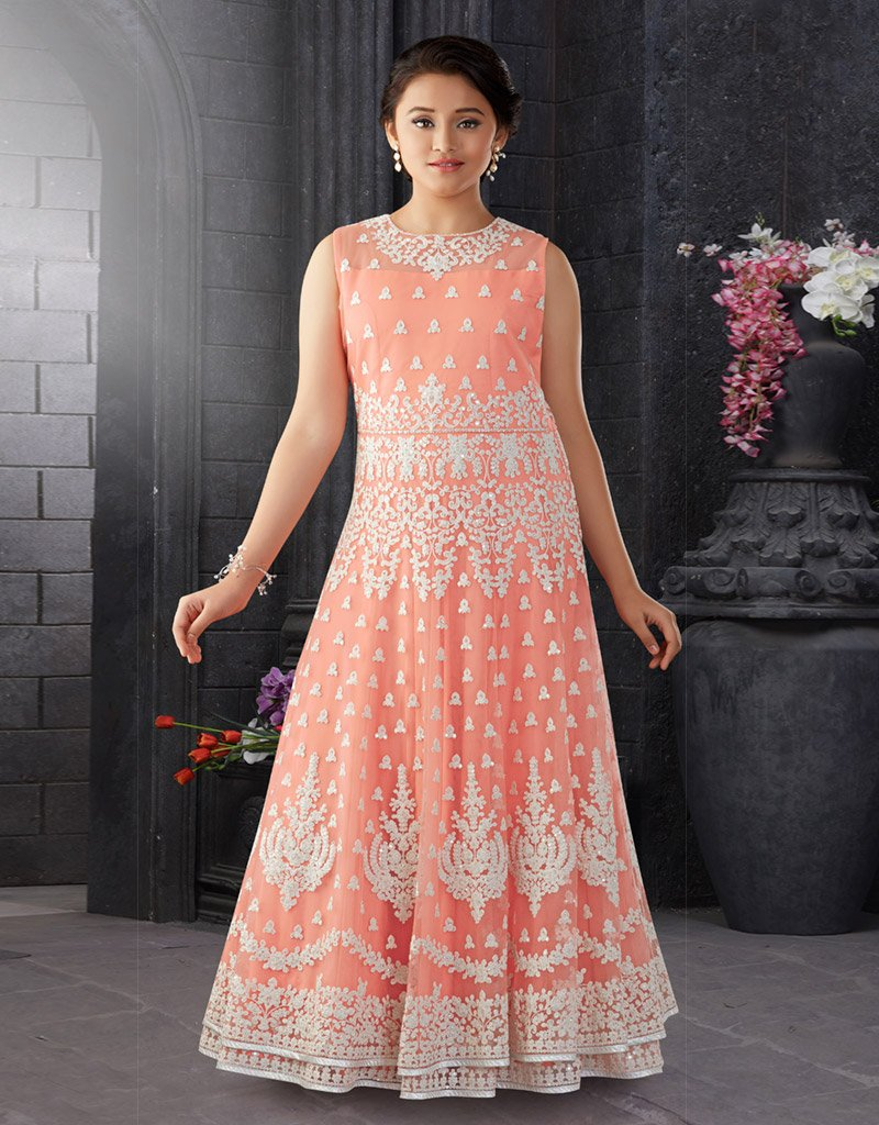 Pink Chikankari Floor Length Gown
