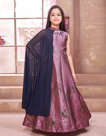 Mauve Floor Length Gown with Navy Blue Cape
