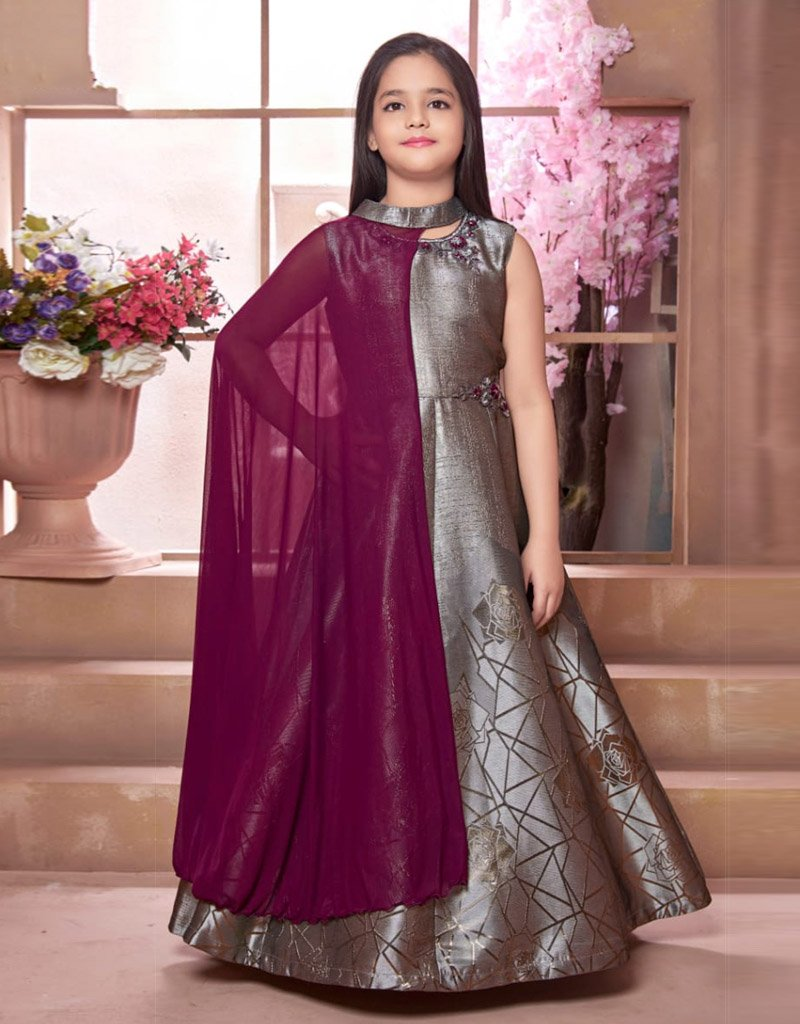 Grey Floor Length Gown with Magenta Cape