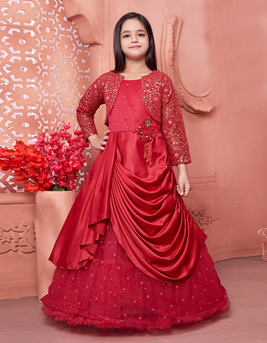 Red Floor Length Gown with Short Red Jacket
