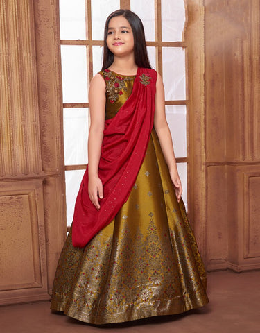 Mustard Floor Length Gown with Red Drape