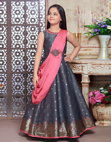Grey Floor Length Gown with Pink Drape