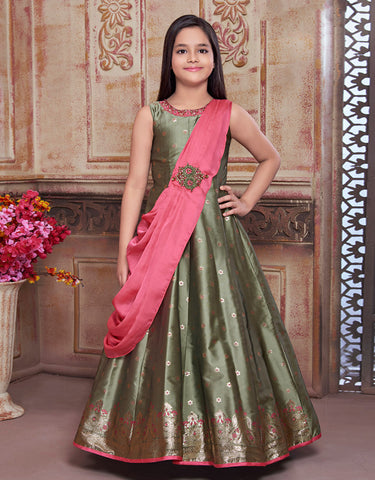 Green Floor Length Gown with Pink Drape