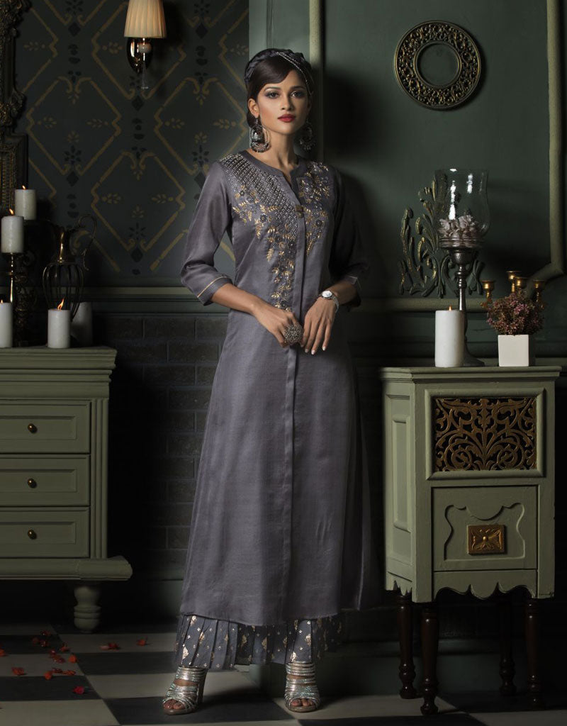 Grey Ankle Length Layered Kurti