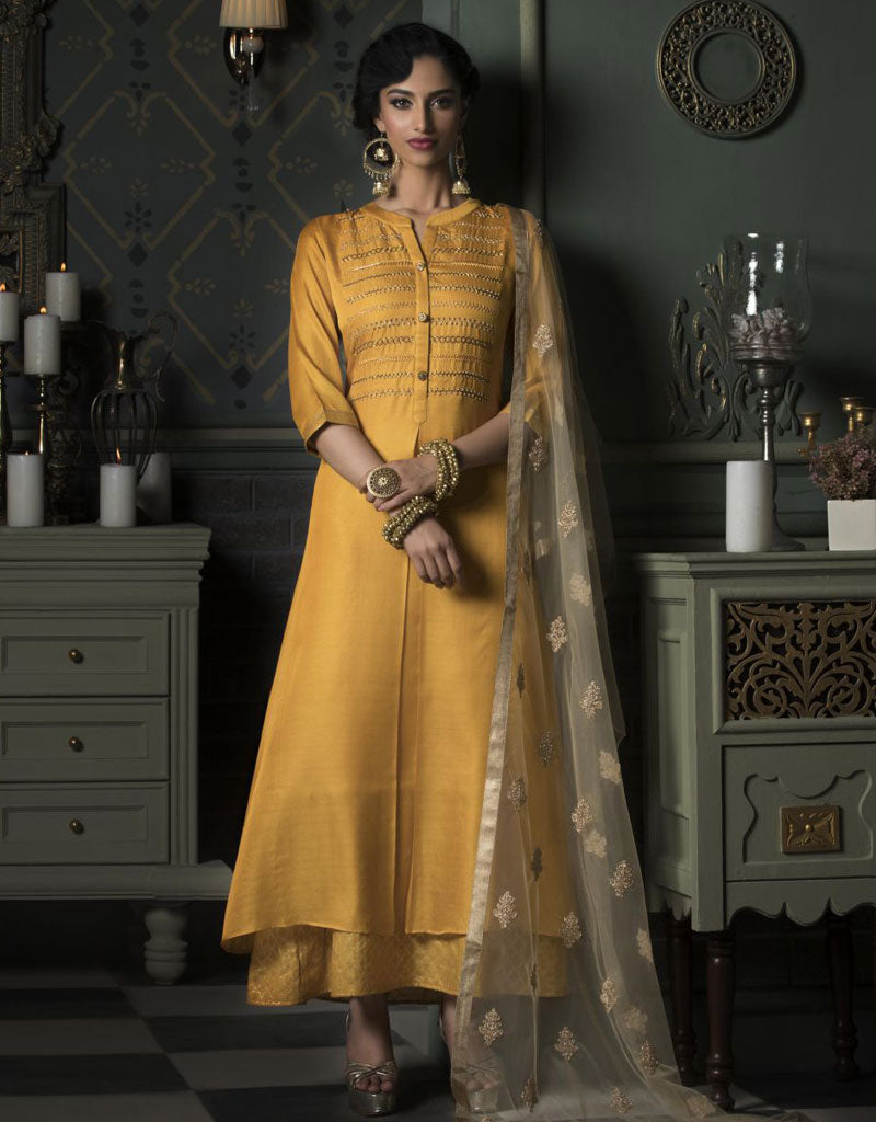 Yellow Ankle Length Layered Kurti