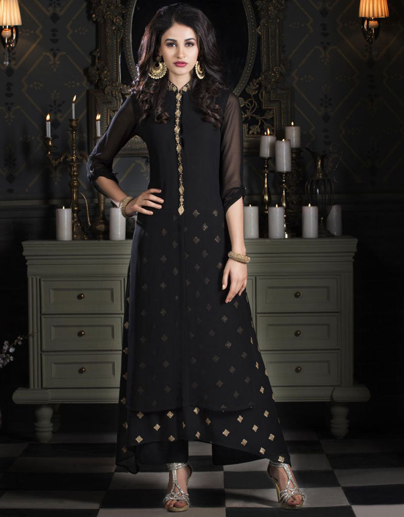 Black Ankle Length Layered Kurti