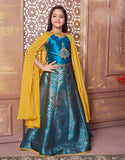 Blue Choli Suit with Yellow Cape
