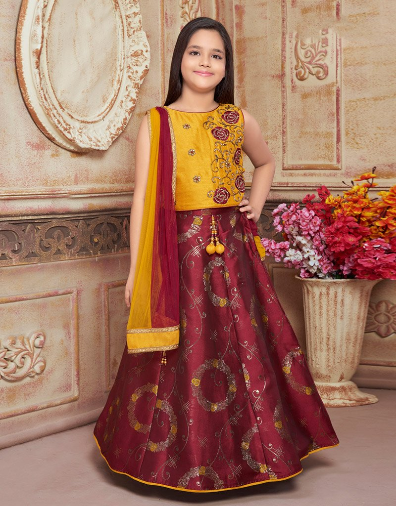 Maroon Lehenga with Yellow Silk Choli