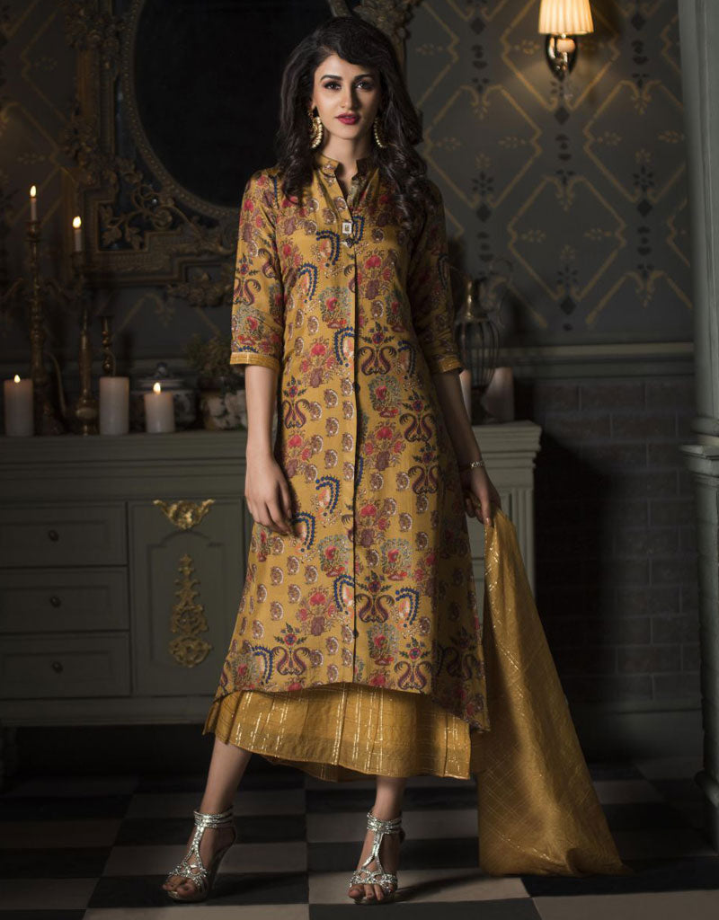 Printed Mustard Ankle Length Layered Kurti