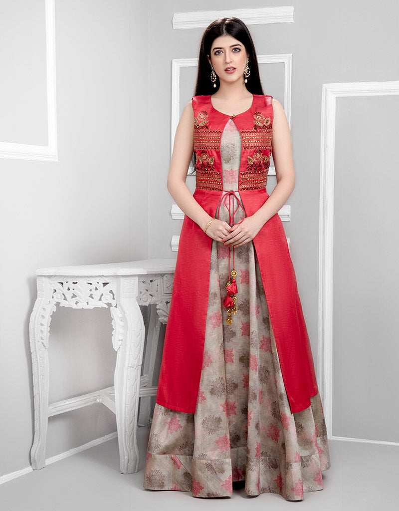 Printed Gown with Gajeri Jacket