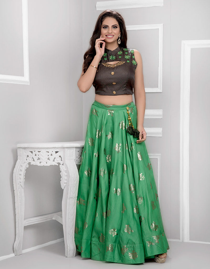 Crop Top with Green Lehenga
