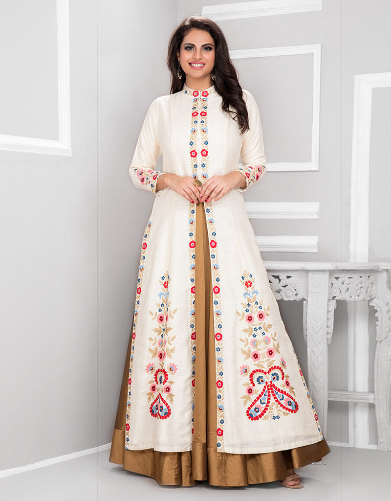 Floor Length Gown with Off White Jacket