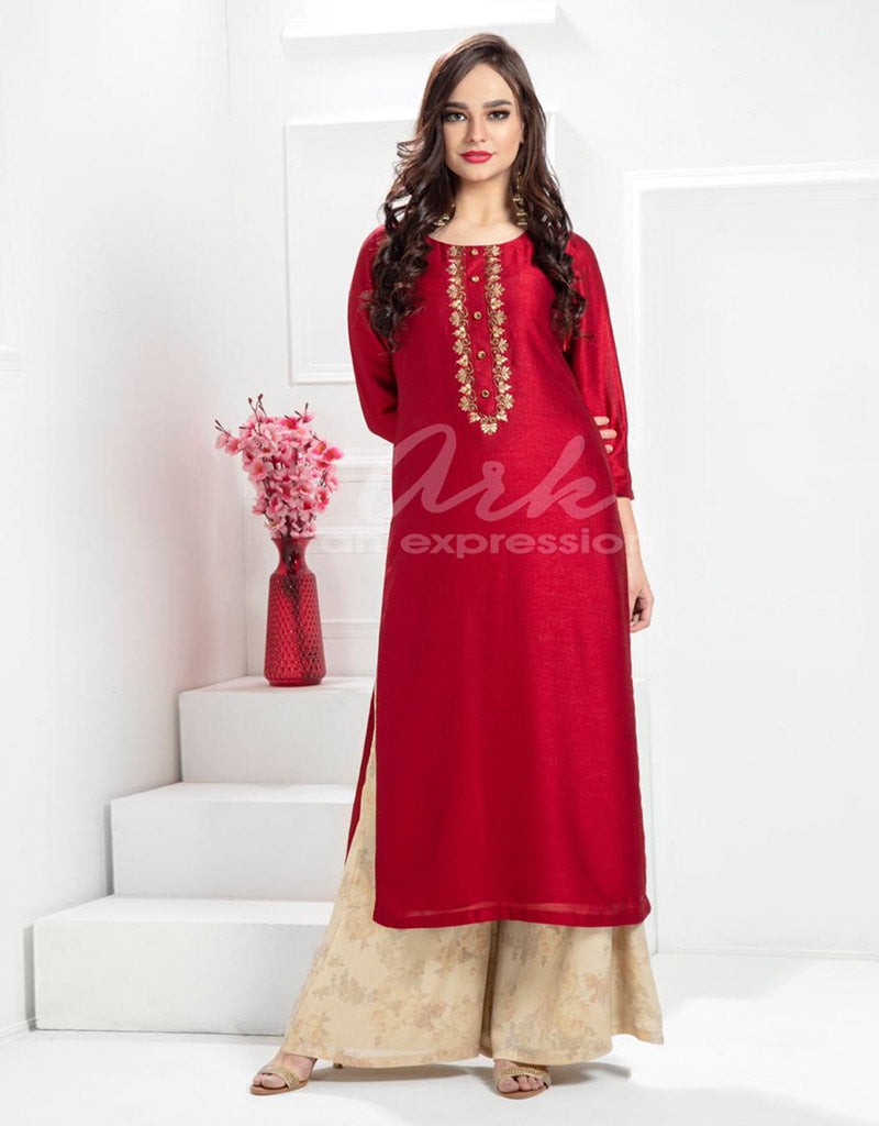 Satin Red Palazzo Suit