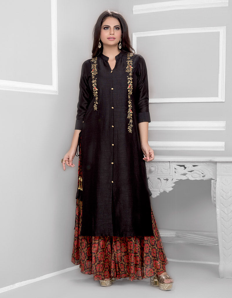 Printed Palazzo with Black Silk Kurta