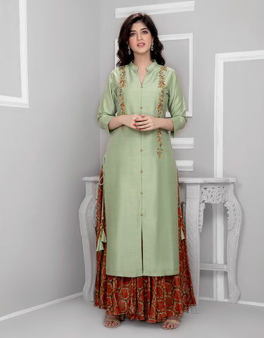 Printed Palazzo with Pista Green Silk Kurta