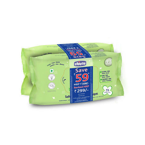 Chicco Cleansing Wipes 72 pcs X 2 pack (without fliptop)
