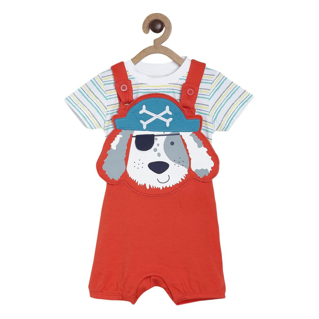 Boys Red Dungaree Set