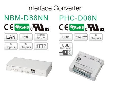 Interface Converter Device: LAN-USB-RS-232C to IO Outputs