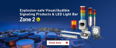 ATEX EX hazardous area led lighting warning lights explosion proof safe patlite signalfx australia new zealand mining oil and gas sounders horns