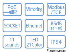 PATLITE LA6-POE LA6-5DTNWB-POE Network POE Ethernet LED Signal Tower Light