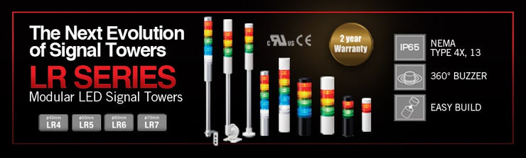 LR6-502WJNW-RYGBC Signal Tower, LED, 5 Tiers, Red, Yellow, Green, Blue, Clear Continuous, 60mm, 24V, IP65, NEMA 4X, NEMA 13
