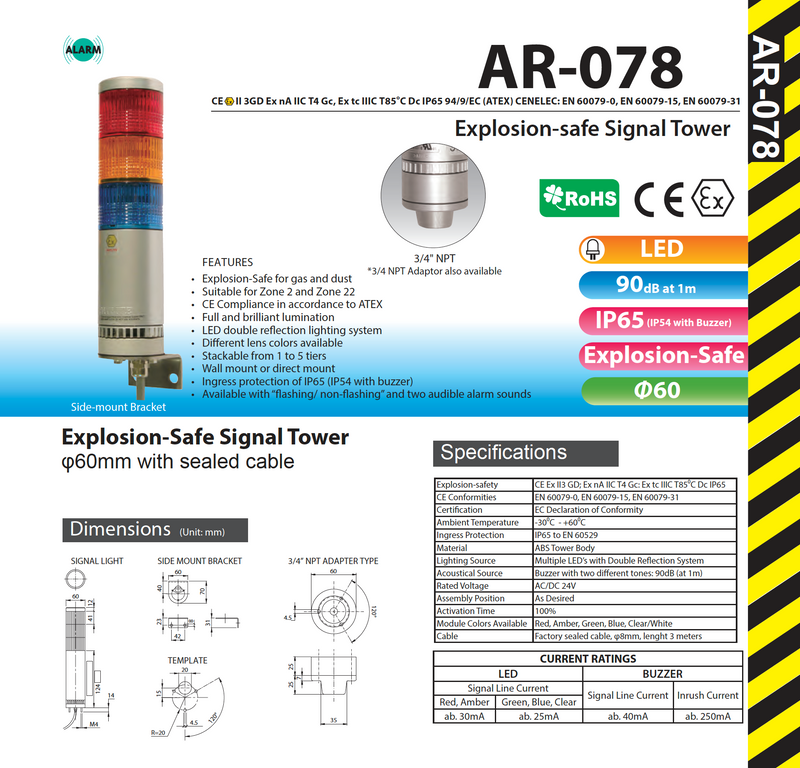 AR-078-011-3-RYG PATLITE SIGNALFX AR-078  Explosion Safe Explosion Proof Hazardous Area INDICATING WARNING LIGHT 2