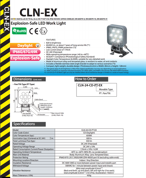 Patlite explosion proof LED light. EX ATEX II 3GD Ex nA IIC T4 Gc, Ex tc IIIC T135ーC Dc IP65.