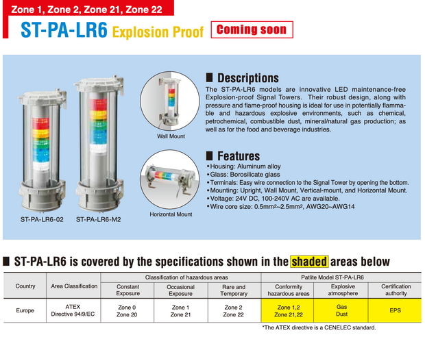 Patlite ST-PA-LR6 ST-PA-LR6502WJBWRYGBC EX Rated ATEX IECx Explosion Proof intrinsically safe flame proof hazardous area LED lights sounder alarm warning light multi signal indication