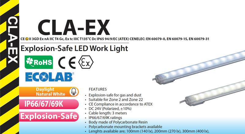 ATEX IP69K CLA EX LED Lighting Work light Intrinsically Safe Explosion Proof Hazardous Area I  I PATLITE SIGNALFX AUSTRALIA FACTORY DIRECT I CALL FOR BEST PRICE