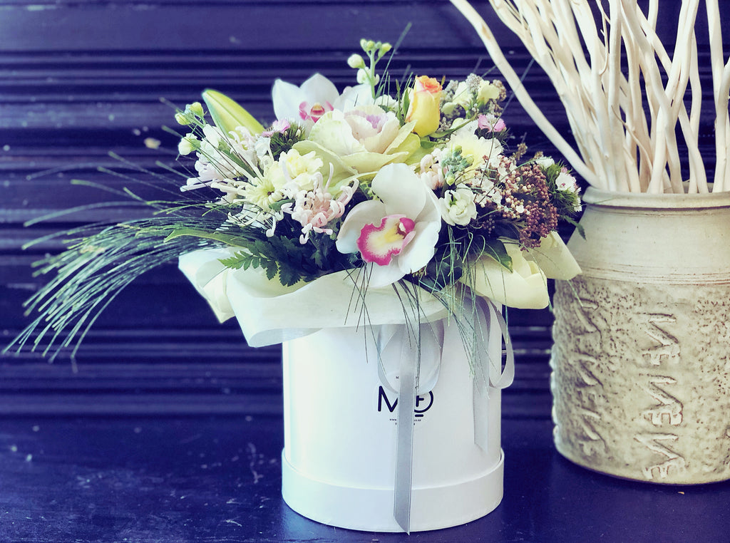 Fresh Flowers Arrangement in Container Pastel