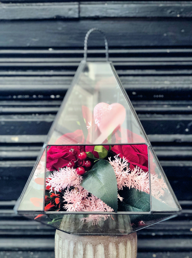silk red roses terrarium